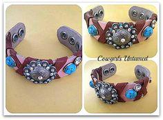 COWGIRL ATTITUDE CUFF Leather Wrap Flower Rhinestone Turquoise Blue Gem Bracelet (One of a kind)
