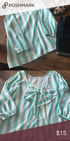 Striped top with bow on the back Mint and white striped top with 3/4 sleeves and a Gorgeous bow on the back 😍 Necessary Clothing Tops Blouses