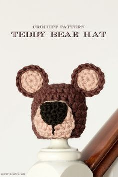 Newborn #crochet teddy bear hat free pattern by Hopeful Honey