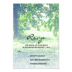 Outdoor Wedding RSVP Watercolor Lush Meadow and Tree Wedding RSVP Card