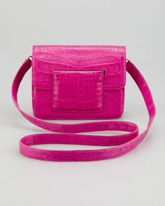 Front-Flap Crocodile Crossbody Bag, Pink by Nancy Gonzalez at Bergdorf Goodman.
