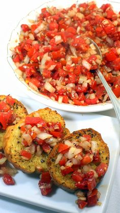 Garden Fresh Tomato Bruschetta - 52 Appetizer Authentic Italian Catering Recipes... The classic Italian dish, meant to celebrate all this fresh and seasonal!  Oh, AND EASY EASY EASY!