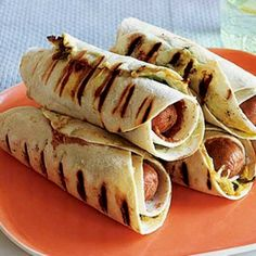 Grilled tortilla hotdogs except substitute for HyVee pineapple bratwursts!