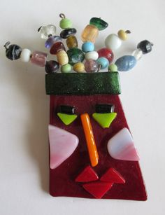 Whimsical Fused Glass Face Pin