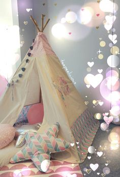 """Sweet like a candy 🍬🍬🍬 """"Cloudy chevron"""" teepee tent by teepeelicious. Kids' and nursery rooms decoration Teepee Tent, Nursery Room Decor, Hanging Chair, Chevron, Toddler Bed, Rooms, Candy, Decoration, Sweet"""