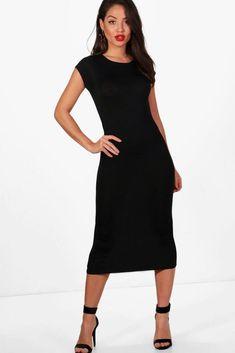 425dabe09f Boohoo Black Cap Sleeve Jersey Bodycon Midi Dress UK 10 LF087 GG 02   fashion