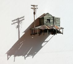 ianbrooks:    Miniature Dilapidations by Maarten Demmink  Made from wood, tin, and other salvaged materials… only lee-tle kinds… Maarten constructs these miniature sheds and power lines, aged well past their date of expiration and definitely home to some miniature hobos.    Artist: Behance / Website