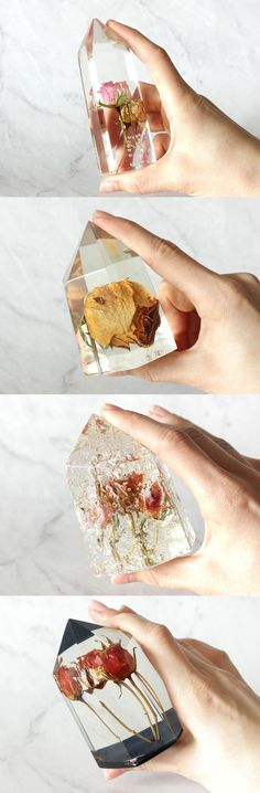 Encapsulated flowers in faux crystal point resin, Preserved rose in clear resin, Faux clear quartz with red rose, Rustic home decor, Unique desk accessory. Handmade decor by WoodAllGood. #WoodAllGood