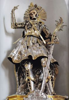 The Bones of St Pancratius are found at the Church of St Niklaus in Wil, Switzerland. He was originally robed in clothes by nuns in the late 1600s but in 1777 – the centenary of his bones arriving in Wil – he was dressed in this magnificent commissioned suit of armour.