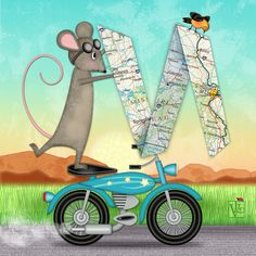 M is for Mouse, Map, and Motorcycle. M is for Mouse, Map and Motorcycle illustration is whimsical take on the letter M in my collection of alphabet letters called Alphabet Soup. Drake, Drawing Meme, Trends, Letter Art, Whimsical Art, Art Boards, Digital Illustration, Cute Art, Digital Art