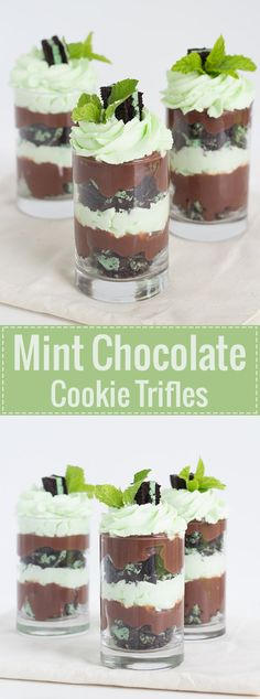 24 Short and Sweet Shot-Glass Desserts Easy Mint Chocolate Cookie Trifles Parfait Desserts, Easy Chocolate Desserts, Köstliche Desserts, Delicious Desserts, Dessert Recipes, Brownie Recipes, Health Desserts, Baking Chocolate, Cheesecake Recipes