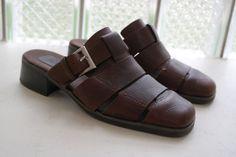 Vtg 90s Minimalist Slip On Brown Leather Mules Low Heel Buckle Trim Straps Size 7.5