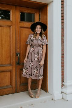Mauve Floral Print Dress | ROOLEE