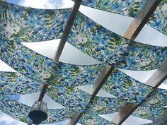 Fabric strips for pergola
