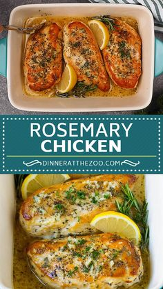 Baked rosemary chicken in a lemon, garlic and butter sauce. Baked rosemary chicken in a lemon, garlic and butter sauce. Easy Chicken Dinner Recipes, Baked Chicken Recipes, Baked Lemon Garlic Chicken, Garlic Rosemary Chicken, Rosemary Recipes, Cooking Recipes, Healthy Recipes, Baked Chicken Breast, Four