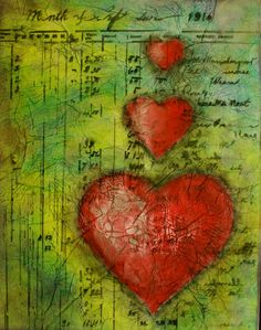 3 red hearts in Pan Pastel with accounting ledger as background