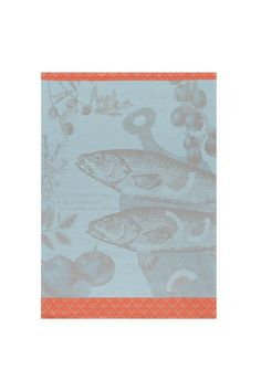 "Fish, herbs and tomatoes adorn this colorful, made-to-last towel. Machine wash & dry.    Measures 24"" x 31""   French Kitchen Towel by Le Jacquard Francais. Home & Gifts - Home Decor - Towels California"