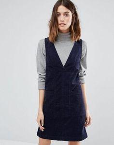 Вельветовое цельнокройное платье с V-образным вырезом Warehouse
