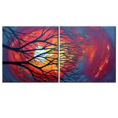 32 x 16 Canvas abstract tree fire painting rebecca by HookedWear, $195.00