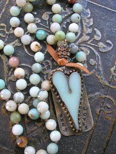 Long beaded necklace - She Loves - romantic heart pendant festival Boho jewelry sky blue amazonite knot necklace artisan soldered jewelry