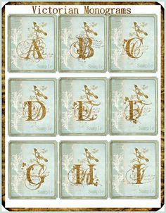 INSTANT DOWNLOAD Victorian Monogram Alphabet Sheets Capital Letters for Cards, Tags, Labels U-PRINT Digital