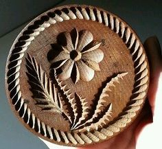 Early Carved Flower Design Wooden Butter Mold Stamp Wood Treen Primitive