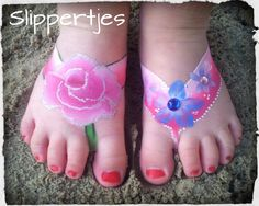 Grimeren Face painting Sylvia flip flops slippers
