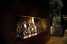 India Art n Design Global Hop : Bonfire - Contemporary Style Contemporary Outdoor Fireplaces, Modern Fireplaces, Coastal Gardens, Basement House, House Deck, India Art, Outdoor Rooms, Outdoor Ideas, Contemporary Design