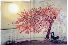 tree mural with flowers--so pretty