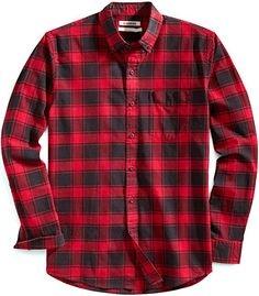 Men's Standard-Fit Buffalo Plaid Oxford Shirt - Red Chili - Clothing, Shirts, Casual Button-Down Shirts Button-Down Shirts Best Casual Shirts, Casual Button Down Shirts, Cool Shirts, Men's Shirts, Picknick Outfits, Easy Last Minute Costumes, Last Minute Kostüm, College Outfits, Moda Masculina