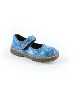 Toddler Girl Doc Dr Martens Blue Leather Heart Mary Jane Shoe Size 10 England