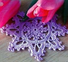 Snowflake Crochet Coaster. More Great Looks Like This