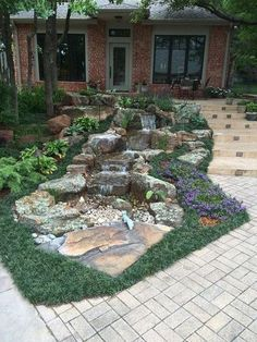 It's not difficult to create a waterfall pond feature rather than the conventional pond. With this small waterfall pond landscaping ideas you will inspired to make your own small waterfall on your home backyard. Backyard Water Feature, Ponds Backyard, Garden Pool, Backyard Waterfalls, Backyard Ideas, Backyard Stream, Sloped Backyard, Pond Ideas, Garden Paths