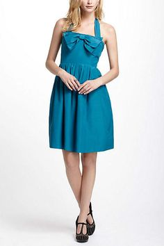 NEW Anthropologie Bowed Halter Dress Blue Size 10 MSRP $228 Quilaree BHLDN