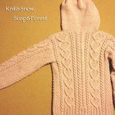 まっすぐ編みのフード付きカーディガン 編み図(アウトライン)です。 の画像|Knit&Snow,WinterForest