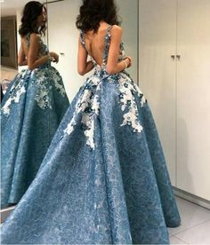 High Low Prom Dress, Lace Prom Dress, Blue - Free l pins High Low Prom Dresses, Prom Dresses 2018, Backless Prom Dresses, Evening Dresses, Dress Prom, Club Dresses, Wedding Dresses, Elegant Dresses, Pretty Dresses