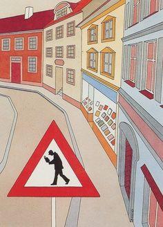 Street readers … be careful! / Calle de los lectores… cuidado! (ilustración de Miroslav Bartak)