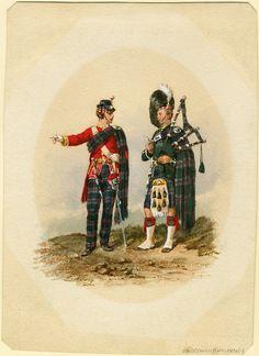 Highland Light Infantry officer and piper 1867 British Uniforms, Men In Kilts, Highlanders, Cold Steel, Edwardian Era, British Army, Reggio, World History, Great Britain