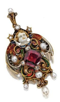 Renaissance-revival gold and enamel gem-set pendant-brooch, circa 1880 - The scrolling cartouche decorated with polychrome enamel en ronde bosse, the center set with a cushion-shaped garnet, further accented with old-mine and rose-cut diamonds, 2 small cabochon rubies and 7 round and drop-shaped pearls, the reverse engraved with details. | © 2015 Sotheby's