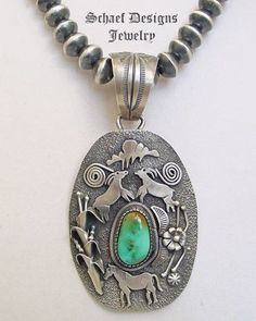 Royston turquoise & sterling silver Petroglyph Native American pendant | New Mexico | New Mexico