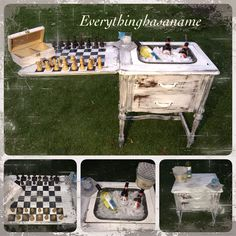 Repurpose sewing machine SUMMER FLING!!!!! This is a repurposed vintage sewing table! We took the sewing machine out and drilled a hole to put a ice bucket in, to hold ice and beverages for your parties! I made a chess board on the other side and it comes with a wooden chess set. Opens up to a cute holder on door for napkins and utensils etc. This is done white with black undergone grey inside and heavily distressed, the cool thing is you DNT have to ever take bucket out