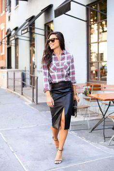 Leather + Plaid - Topshop shirt c/o // Topshop skirt Stuart Weitzman heels // Chanel Celine sunglasses // Necklace Thursday, August 27, 2015
