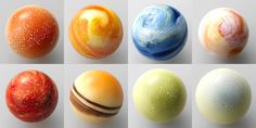 Planetary Chocolates from the Righa Royal Hotels, Japan include:  Mercury as coconut mango, Venus as lemon cream, Earth as cocoa, Mars as orange praline, Jupiter as vanilla, Saturn as rum raisin, Uranus as milk chocolate and Neptune as cappuccino. via laughingsquid #Chocolate #Planets #Righa_Royal_Hotels #laughingsquid