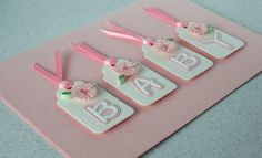 Baby card with ribbon and tags