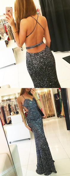 grey sequins mermaid dress,backless prom dress,glitter dress,mermaid evening gowns,sexy prom dress 2017
