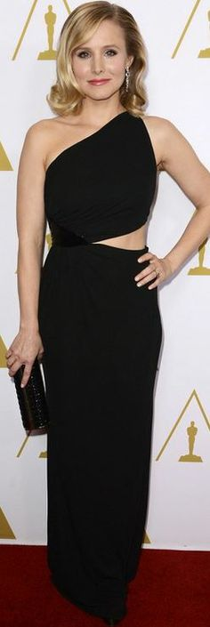 Who made  Kristen Bell's one shoulder cut out black gown that she wore in Beverly Hills? Dress – Reem Acra