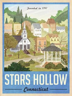 Stars Hollow Poster Vintage Travel Poster by WindowShopGal