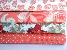 Vintage Verona, Bundle in Coral, Emily Taylor, Riley Blake Designs, 4 half yards on Etsy, $16.00