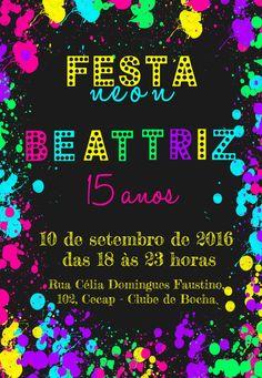 Convite Digital 15 anos com tema Neon.