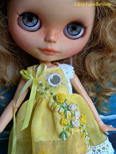 """BLYTHE DOLL dress - OOAK/""""Sunshine on Roses""""  Indian cotton fabric, mirrors and vintage roses by LittleLovelieShop on Etsy"""